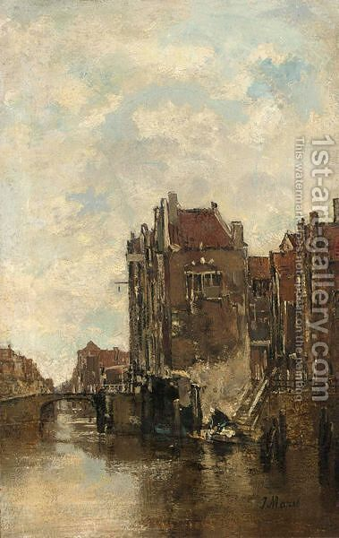 A Washer Woman On A Canal In Dordrecht by Jacob Henricus Maris - Reproduction Oil Painting
