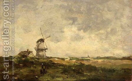 A Windmill In A Polder Landscape by Jan Hendrik Weissenbruch - Reproduction Oil Painting