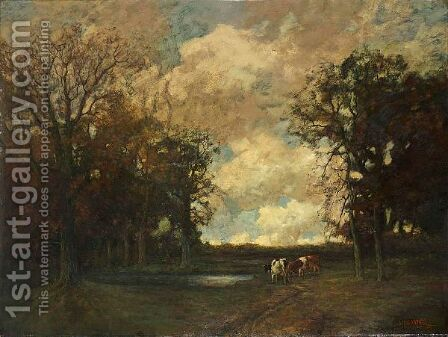 Cows In A Forest Landscape by Arnold Marc Gorter - Reproduction Oil Painting