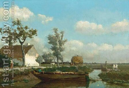 A Polder Landscape With A Figure On A Barge by Jan Hendrik Weissenbruch - Reproduction Oil Painting