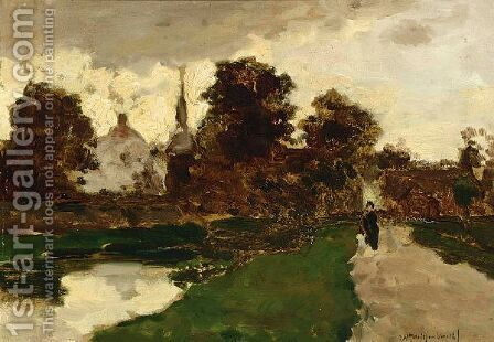 A Figure On A Path Near Noorden by Jan Hendrik Weissenbruch - Reproduction Oil Painting