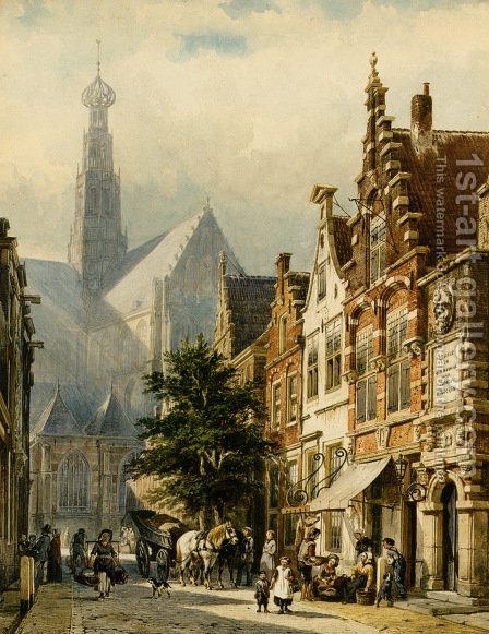 Many Figures In The Streets Of Haarlem by Cornelis Springer - Reproduction Oil Painting