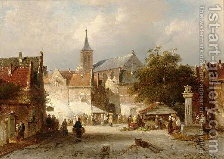 A Busy Market In A Dutch Town by Charles Henri Leickert - Reproduction Oil Painting