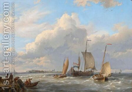 Shipping Off The Dutch Coast by Hermanus Koekkoek - Reproduction Oil Painting