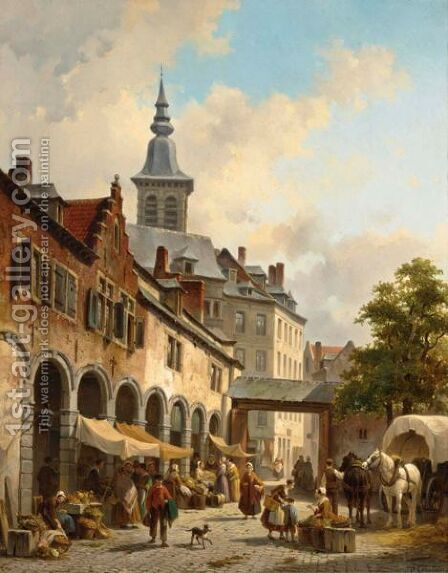 A Busy Market On A Town Square by Jacques Carabain - Reproduction Oil Painting