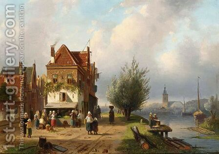 A Town View With Figures By A Market Stall by Charles Henri Leickert - Reproduction Oil Painting