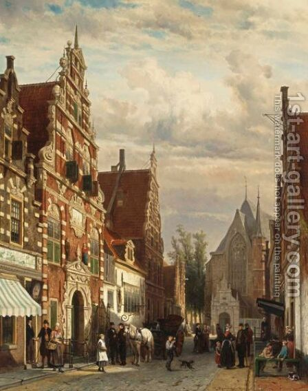 A View Of The Westerstraat In Enkhuizen In Summer by Cornelis Springer - Reproduction Oil Painting