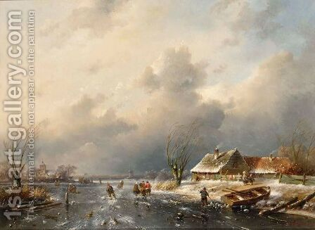 A Frozen Waterway With Skaters By A Cottage by Charles Henri Leickert - Reproduction Oil Painting