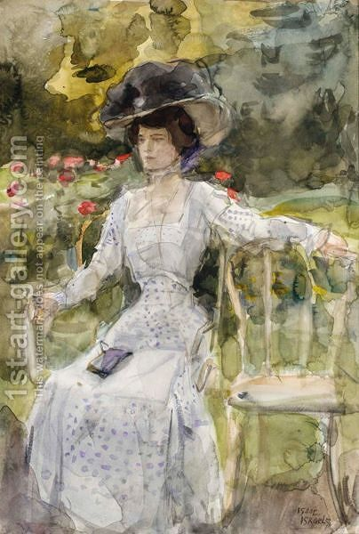 An Elegant Lady In A Garden by Isaac Israels - Reproduction Oil Painting