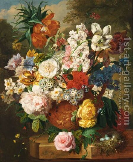 A Still Life With Tulips, Roses, Peonies And Various Other Flowers by Dutch School - Reproduction Oil Painting