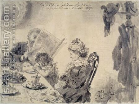 In The Cafe by Adolph von Menzel - Reproduction Oil Painting
