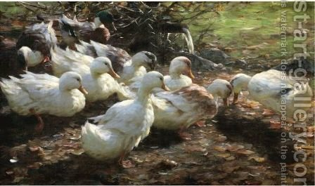 Nine Ducks by Alexander Max Koester - Reproduction Oil Painting