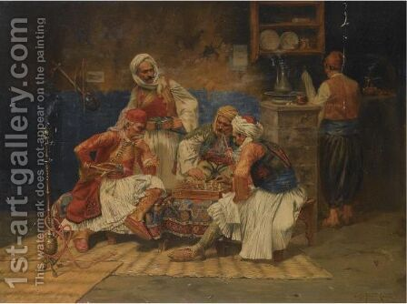 Chess Players by Albert Joseph Franke - Reproduction Oil Painting