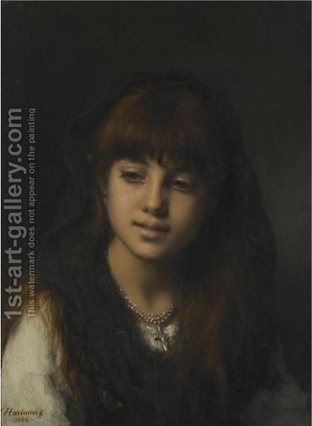 A Young Girl 3 by Alexei Alexeivich Harlamoff - Reproduction Oil Painting