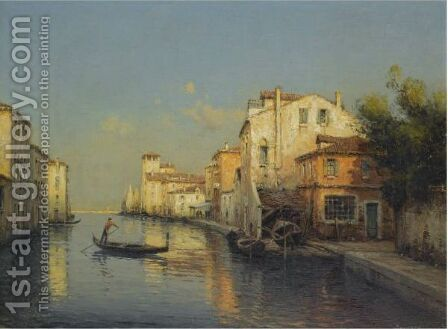 Gondole Sur Un Canal A Venise by Antione Bouvard - Reproduction Oil Painting