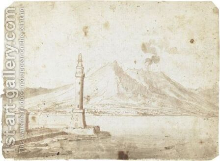 Veduta Di Napoli Con Il Vesuvio by Italian School - Reproduction Oil Painting