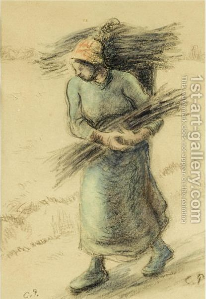 Femme Portant Un Fagot by Camille Pissarro - Reproduction Oil Painting
