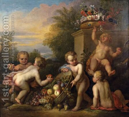 Putti Playing In A Garden by (after) Jacob De Wit - Reproduction Oil Painting