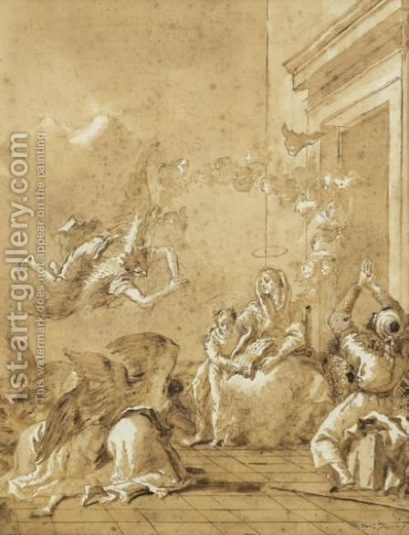 The Education Of The Virgin by Giovanni Domenico Tiepolo - Reproduction Oil Painting