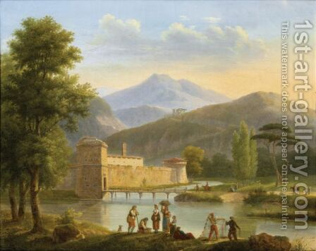 Montainous Landscape With Figures And A Castle By A River by Andre Dutertre - Reproduction Oil Painting