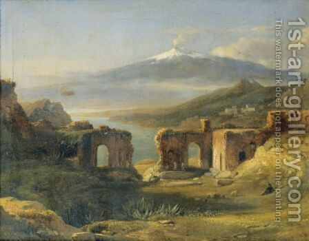 View Of The Theatre Of Taormina (Sicily) by Achille-Etna Michallon - Reproduction Oil Painting
