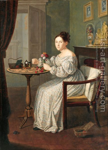 Young Woman In A Room by Giuseppe Patania - Reproduction Oil Painting