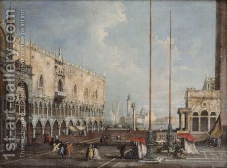 The Piazzetta And The Palazzo Dei Doggi In Venice by (after) Giuseppe Ponga - Reproduction Oil Painting
