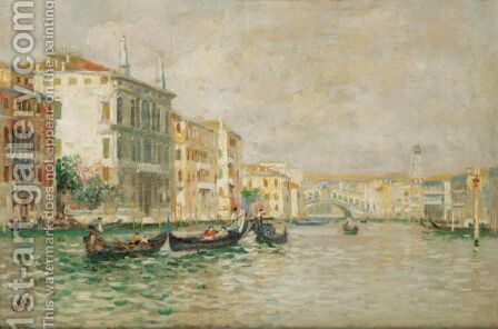 The Grand Canal With The Rialto by (after) Luigi Lanza - Reproduction Oil Painting