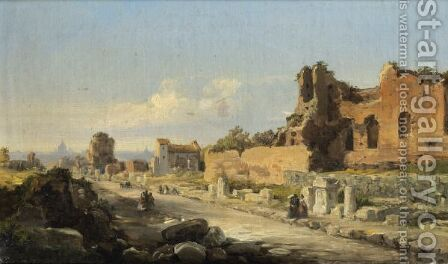 View Of Via Appia, Roma by Ecole Francaise, Xixeme Siecle - Reproduction Oil Painting