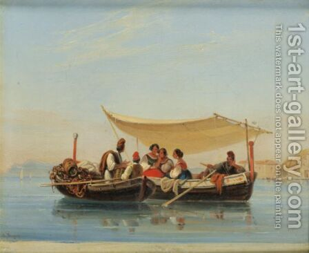 Afternoon Off The Cape Pausilippus Near Naples by Alphee De Regny - Reproduction Oil Painting