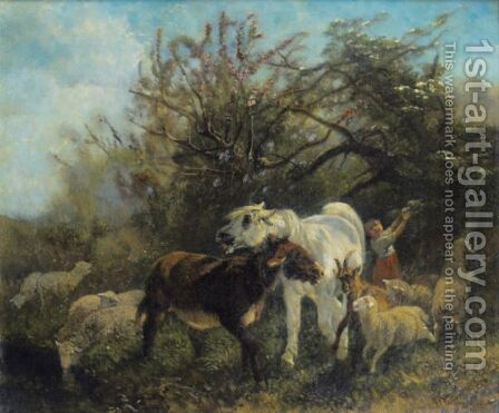 Child And Sheep In The Country by Giuseppe Palizzi - Reproduction Oil Painting