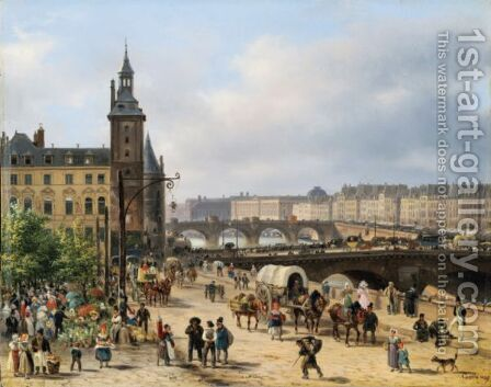View Of The Clock Tower And The Flower Market In Paris by Guiseppe Canella - Reproduction Oil Painting