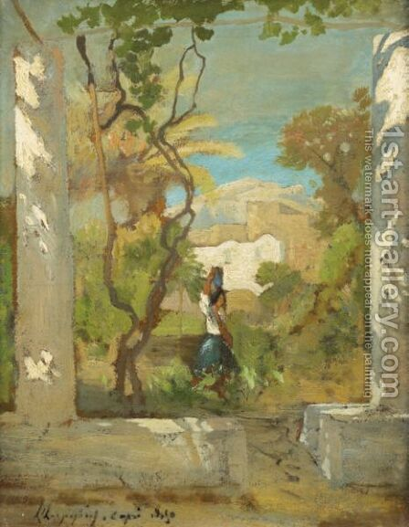 Water Carrier At Capri by Henri-Joseph Harpignies - Reproduction Oil Painting