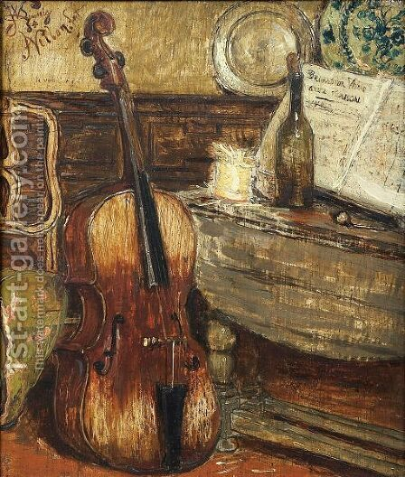 Still Life With Violoncello And Score  Sergeant You Are Right by Antoine Vollon - Reproduction Oil Painting