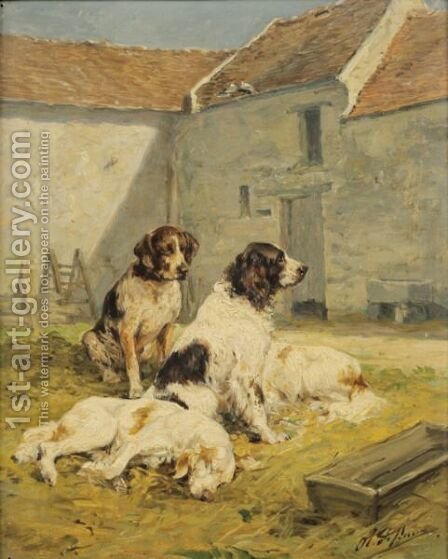 Dogs In The Courtyard Of A Farm by Charles Olivier De Penne - Reproduction Oil Painting