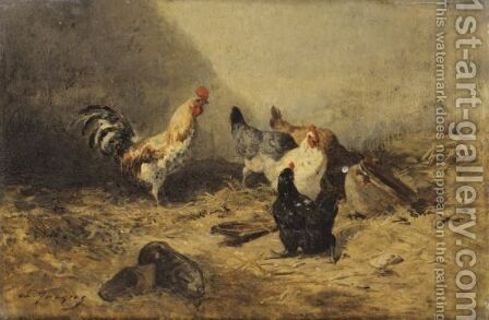 Cock And Hens by Charles Émile Jacque - Reproduction Oil Painting
