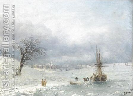 Winter Landscape by (after) Ivan Konstantinovich Aivazovsky - Reproduction Oil Painting