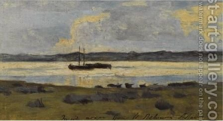 Boats On A Lake by (after) Isaak Ilyich Levitan - Reproduction Oil Painting