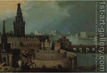 An Imaginary City By A River With A Horseman Hunting A Lion by (after) Louis De Caullery - Reproduction Oil Painting