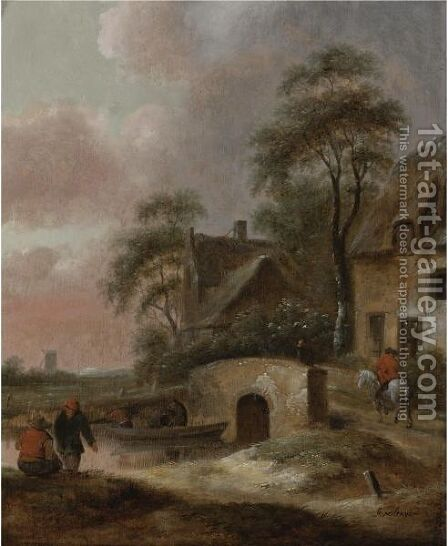 Landscape With Houses By A River With Figures Along The Bank And In A Boat by Claes Molenaar (see Molenaer) - Reproduction Oil Painting