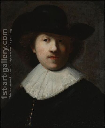 Portrait Of The Artist In A Black Coat And Hat by (after) Harmenszoon Van Rijn Rembrandt - Reproduction Oil Painting