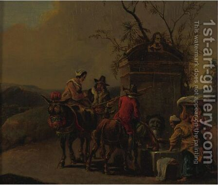 Travelers Resting At A Fountain by (after) Nicolaes Berchem - Reproduction Oil Painting
