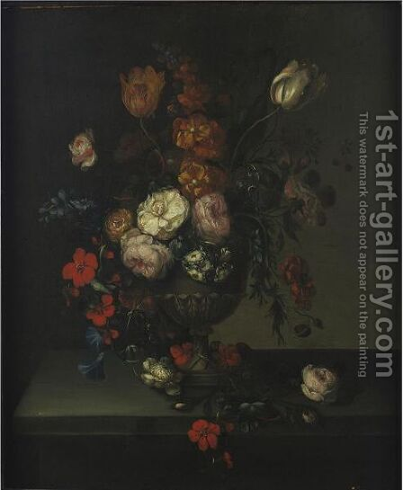 Still Life With Flowers In An Urn by (after) Herman Van Der Myn - Reproduction Oil Painting