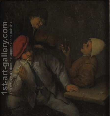 Three Peasants Drinking And Smoking In An Interior by (after) Adriaen Jansz. Van Ostade - Reproduction Oil Painting