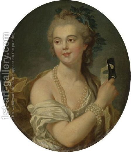 Mademoiselle Van Loo Holding A Mask by (after) Louis Michel Van Loo - Reproduction Oil Painting