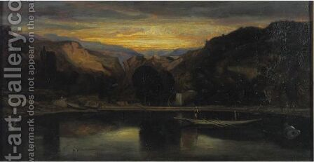 Sunset On The Lake by Alexandre Gabriel Decamps - Reproduction Oil Painting