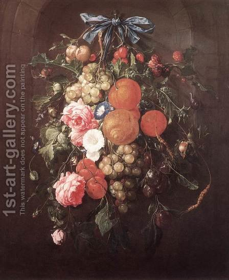 Still-Life with Flowers 1660 by Cornelis De Heem - Reproduction Oil Painting