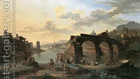 River View with the Ponte Rotto 1696 by Jacob De Heusch - Reproduction Oil Painting