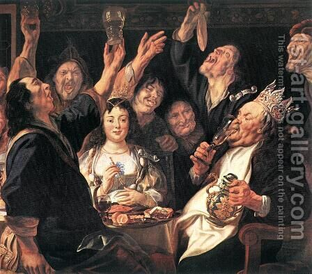 The Bean King (detail) by Jacob Jordaens - Reproduction Oil Painting