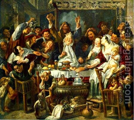 The King Drinks by Jacob Jordaens - Reproduction Oil Painting